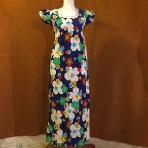 VINTAGE 70s Blue Flower Power Maxi Dress